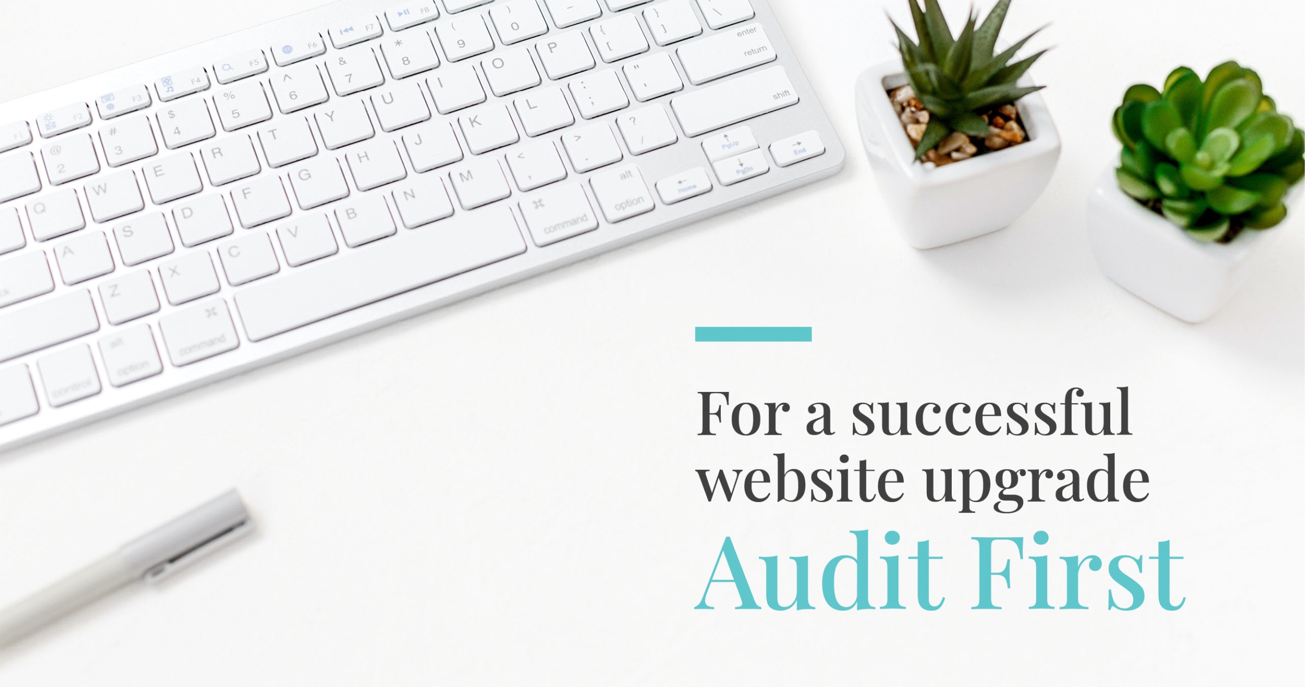 website audit for successful website title over desk with keyboard and plants
